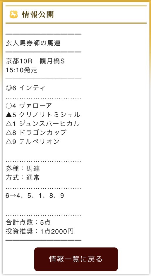 MAIN(メイン)11月10日無料予想馬連