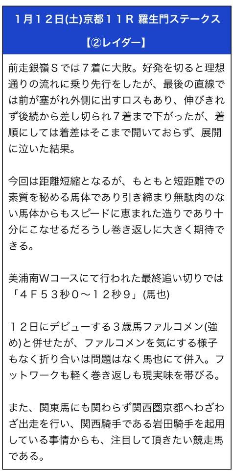 勝馬の栞1月12日無料予想
