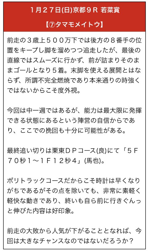 勝馬の栞1月27日無料予想