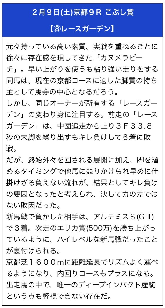 勝馬の栞2月9日無料予想